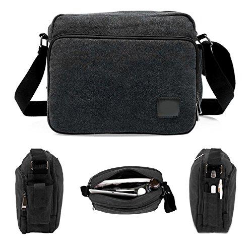 Price comparison product image Brand New Men's Canvas Vintage School Satchel Messenger Military Shoulder Leather Bag (Black)