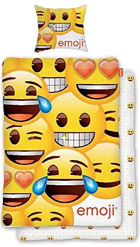 BERONAGE Original Emoji Wende Bettwäsche Smiley 135 cm x 200 cm + 80 cm x 80 cm - Neu & Ovp - 100{e6cc88097e5905dee9da74a585f72862f20663df1f772b1b55d42545be6afd99} Baumwolle - Wendebettwäsche