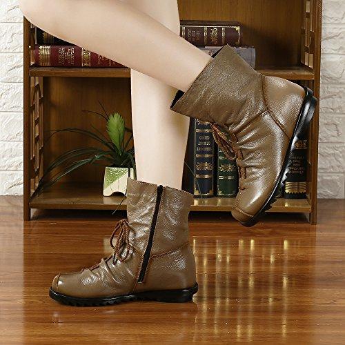 Stivaletti Da Donna Saguaro Impermeabili Stivali In Morbida Pelle Foderati Stivali Da Donna Vintage Scarpe Marroni