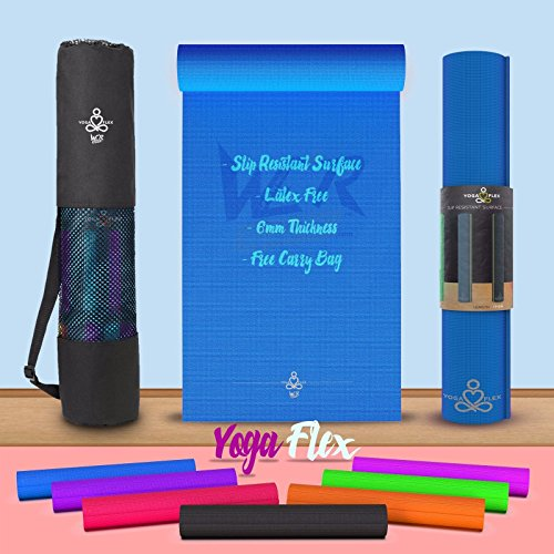We R Sports™ YogaFlex™ 60mm Non-Slip Yoga Pilates Mat With Carry Bag - Blue