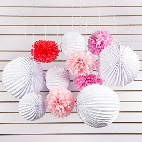 SUNBEAUTY 11er Set Rosa Pink Weiß PomPoms Lampions Zeremonie Dekoration (Rosa & Pink & Weiß)