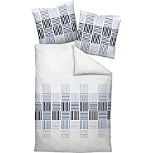 Janine Mako satén ropa de cama (2piezas, funda nórdica de 135x 200cm 80x 80cm funda de almohada J. D. 87025–02azul