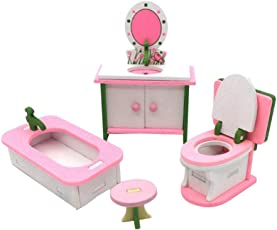 TOYMYTOY Dollhouse Furniture Wooden Miniature Toy Mini Doll House Accessory Kids Children Pretend Play Toy (Bathroom)