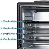 TZS First Austria - 45 Liter 3200 Watt Mini-Backofen mit Kochplatten und Krümelblech| Drehspieß und Umluft Mini Pizzaofen | Mini-Küche | Kochplatten separat bedienbar | gleichzeitig kochen und backen Test