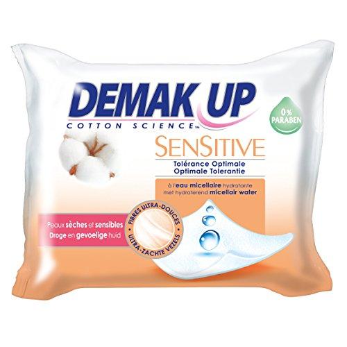 Demak'Up Sensitive - Lingette Eau Démaquillante Peaux Sèches et Sensibles (3 paquets de 23 lingettes)
