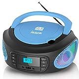 Lauson LLB997 Tragbarer CD-Player, LED-Discolichter, Boombox, CD Player für Kinder, kinderradio mit cd und USB, CD-Radio mit LCD-Display, Netz & Batterie, Blau