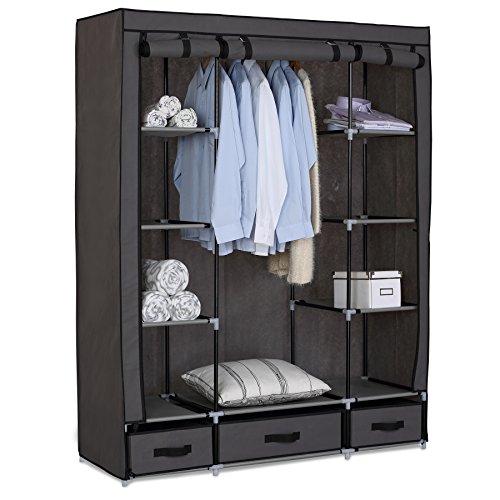 WOLTU #173-1 XXL Kleiderschrank Stoff , Garderobenschrank Campingschrank Faltschrank Stoffschrank Schubladen und mit Kleiderstange , 133x46x170 cm , 4 Farben (Grau)