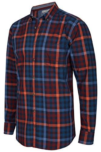 Calamar Herren Hemd, Langarmhemd im Karo-Design, Casual Fit, 100% Baumwolle, 109730 4S49 Navy