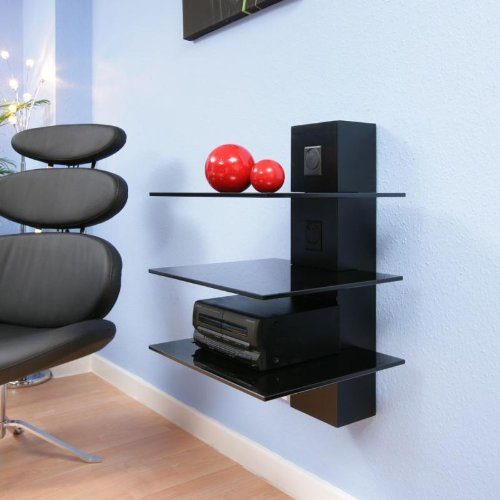 Hifi Stand / Shelves Black Glass, Cable Mgt, Wall Mounted, Modern 14A
