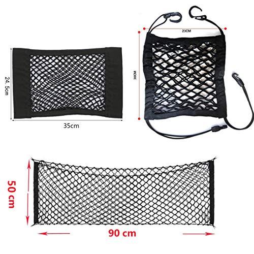 Netztasche mit Klettverschluss Gepäcknetz mit 4 Haken Auto Rücksitz Organizer Schutznetz Autositz Aufbewahrung Ablage Kofferraumnetz (B)