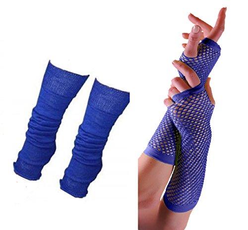 Momo&Ayat Fashions Adults Short & Long Fingerless Fishnet Gloves & Leg Warmer Set Raves Parties 1980s Fancy Dress - Pick & Mix (Leg Warmer & Long ()