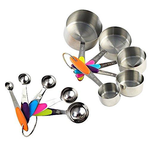 Schmutz Cup Griff (10er Set Edelstahl Messbecher Messlöffel Cup mit dem Silikon Griff für Küche Kaffee)