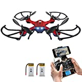 NEW Feature - Hover Drone, Potensic® F181WH UPGRADED Wifi FPV 2.4GHz 4CH 6-Axis Gyro RC Quadcopter Drone with 2 Megapixels HD Camera, 3D Flips Function - Red