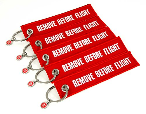 Schlüsselanhänger - Remove Before Flight - 5er-Set - Rot -