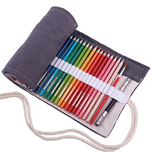 Amoyie Leinwand Stifterolle für 72 Buntstifte, Hand Roll-up Mäppchen für Reisen/Schule/Büro/Kunst (Keine Schreibzeuge im Lieferumfang), Grau