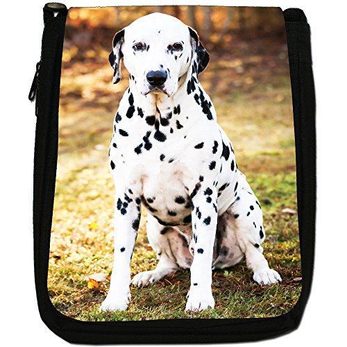 Cane dalmata Medium Nero Borsa In Tela, taglia M Dalmatian Dog Sitting On Grass