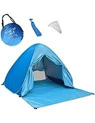 Pop Up Tienda para playa–UPF 50+ Protección UV Protección solar playa sombra tienda de campaña Sun Shelter, automático playa Familia Cabana para camping Beach Fishing Garden