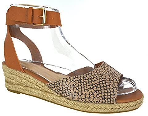 LADIES WOMENS LOW HEEL WEDGE SUMMER SANDALS BUCKLE STRAP ESPADRILLIES SHOES SIZE