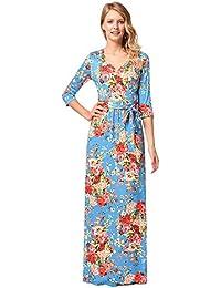 db4e3111f antaina Vestido Maxi Largo de la Playa de Las Mujeres del Maxi del Bohemio  de la Impresión Floral Azul Claro…