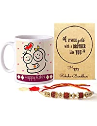 Tied Ribbons Rakhi Gift Hamper (Designer Rakhi, Printed Coffee Mug, Rakshabandhan Special Card, Roli Chawal)