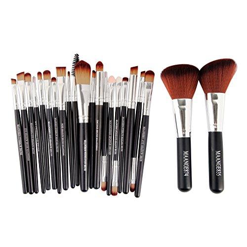 Ensemble de 22 pièces de brosses de maquillage cosmétique à double couleur avec poignée en bois avec 1 sac de Rangement