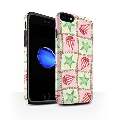 STUFF4 Glanz Harten Stoßfest Hülle / Case für Apple iPhone 8 / Lila/Grün Muster / Boote und Sterne Kollektion Grün/Rot