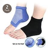 Liberex 2paia Moisture gel Heel Socks–infuso di aloe vera e vitamina E spa recupero Booties, riparazione Rough Dry Cracked Skin per donne uomo (nero e blu)