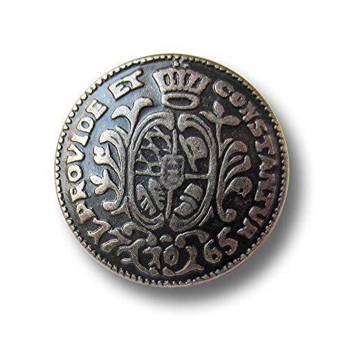 Knopfparadies - 6er Set edle Münz Metall Knöpfe 1756 mit Krone & Wappen / alteisenfarbeen / Metallknöpfe / Ø ca. 21mm - Wappen-knöpfe