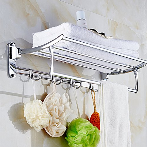 kaluori faltbar Bad Küche Ablagen Handtuch Rack doppelstöckige Bad Stauraum Wandbehang Organizer Edelstahl Badezimmer Handtuchhalter Halter mit Größe 60x 25x 13,5cm
