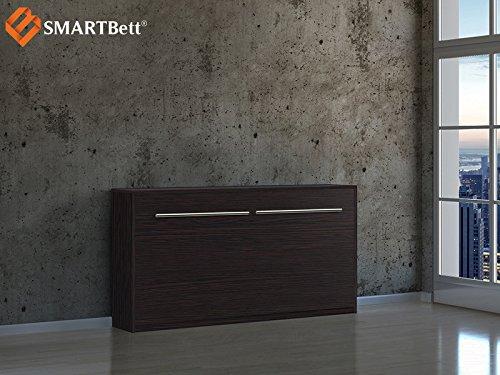 SMARTBett Klappbett Gästebett Schrankbett horizontal, Liegefläche 90x200cm, wenge