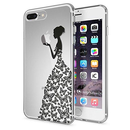 NALIA Handyhülle für iPhone 8 Plus / 7 Plus, Slim Silikon Motiv Case Crystal Schutz-Hülle Dünn Durchsichtig, Etui Back-Cover Transparent Bumper für Apple iPhone 7+ / 8+, Designs:Princess Schwarz