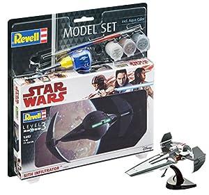 Revell Star Wars Set Sith Infiltrator, en Kit Modelo con Base Accesorios, fácil Pegar y para pintarlas, Escala 1:257 (63612), 10,0 cm de Largo