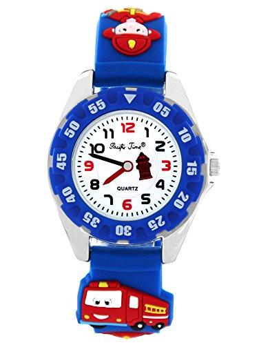 Pacific Time Montre enfant Pompier Camion de pompier à quartz analogique d'apprentissage Bleu 214471