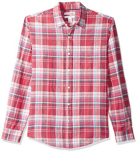 Amazon Essentials Slim-Fit Long-Sleeve Stripe Linen button-down-shirts, Red Plaid, US (EU XL-XXL)