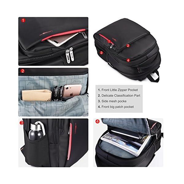 51c4fcNELHL. SS600  - Vbiger - Mochila de trabajo multiusos de 15,6 pulgadas, bolsa bandolera para ordenador portátil, bolsa para estudiantes con bolsillo Frid, color negro