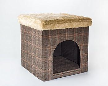 Abri pour chien/Abri pour chat et tabouret, aspect tweed, 50 x 50 x 50 cm, s?utilise en intérieur