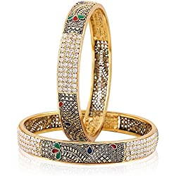 Jewels Galaxy Exclusive Limited Edition American Diamond Leafy Designed Antique Bangles - Set Of 2