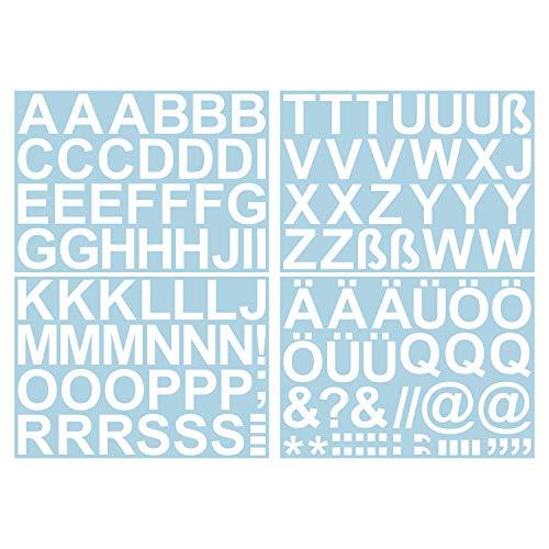 Leicht anzubringende Buchstaben Aufkleber 5cm in weiß glänzend - 90 HOCHWERTIGE KLEBEBUCHSTABEN - Buchstaben zum aufkleben abc Alphabet - Wasser und wetterfest ideal für den Außenbereich