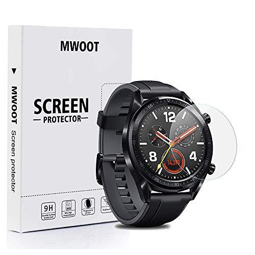 Mwoot 4 Unidades Protectores de Cristal Templado para Huawei Watch GT, 9H Dureza Resistente a Arañazo Protector de Pantalla para Proteccion de Pantalla