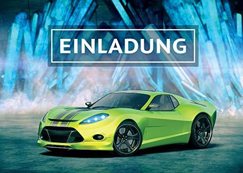 12 Einladungskarten Geburtstag Kinder Junge Rennauto / Rennwagen / Auto / Einladungen Kindergeburtstag für Jungen / Kartenset