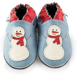 Scarpe per bimbo in pelle morbida - Pupazzo di neve - Suola in pelle antiscivolo | 6-12 mesi