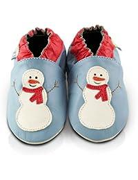 Snuggle Feet - Chaussons Bébé en Cuir Doux - 0-6 Mois, 6-12 Mois, 12-18 Mois, 18-24 Mois, 2-3 Ans (12-18 mois, Bonhomme De Neige)