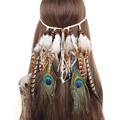 QtGirl Indian Hippie Boho Feder Stirnband Tassel Hanf Seil Haarband für Frauen Mädchen Abendkleider Halloween Haarschmuck