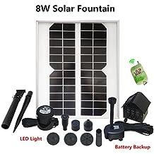 12V/8W Bomba Agua Panel Energía Solar con Batería con Luces Led Monocristalino Bomba Agua