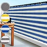 casa pura Brise Vue Pare Vue canisse | Balcon, Jardin | occultant, résistant aux intempéries | 90x500cm - Bleu et Blanc