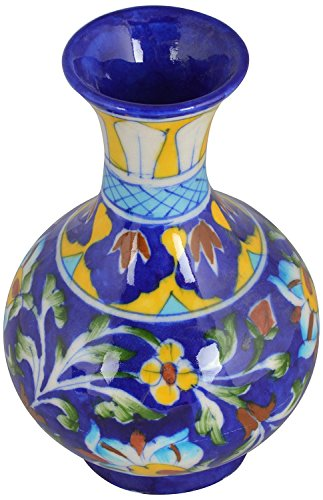 The Himalaya Craft Blue Pottery Ceramic Flower Vase