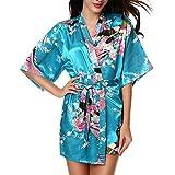 Mujer Vestido Kimono Pijamas Satén Estampado Flores Pijama Bata Albonoz 3/4 Manga Elegante Cómoda