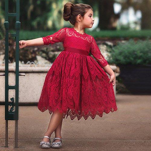 Yinew Prinzessin Kleid Party Kleid Mädchen Kleid Spitzen Nähte Rund Hals Ausschnitt Fliege Kleid Rot 130cm