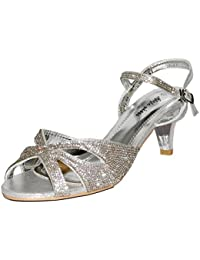 ROCK ON Styles Mujer Fiesta Diamante Bajo Gatito Tacón Ancho Feet Zapatos Sandalias Plus sizes-a 241 - Negro, 8 UK