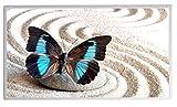 Bildheizung Infrarotheizung mit Digitalthermostat für Steckdose - 5 Jahre Herstellergarantie- Elektroheizung mit Überhitzungsschutz - TÜV geprüft - (Schmetterling blau schwarz im Sand;600W)